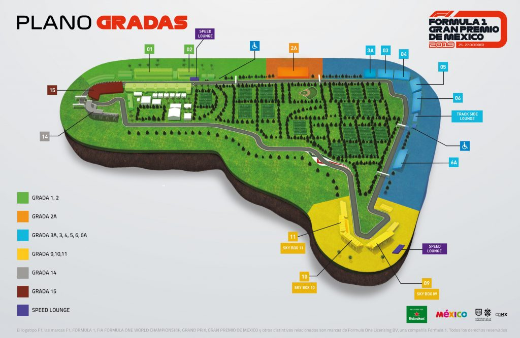 Mapa Formula 1 México Autodromo Hnos. Rdz.